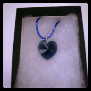 Jewelry - Satin Blue Crystal Heart Necklace
